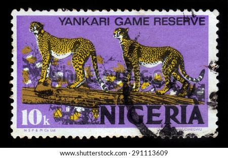 NIGERIA - CIRCA 1973: A stamp printed in Nigeria, shows pair of cheetah, circa 1973 - stock photo
