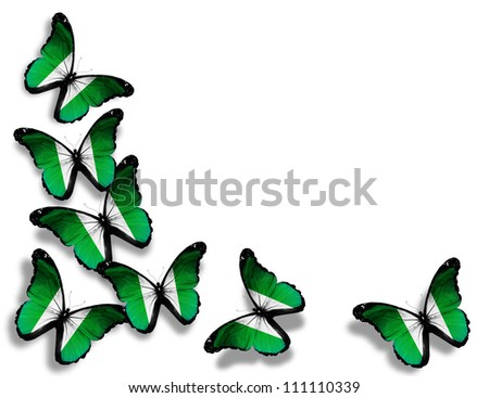 Nigeria flag butterflies, isolated on white background