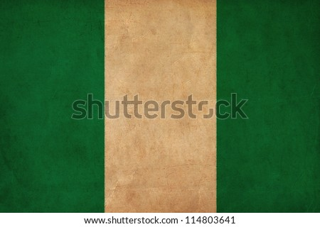 Nigeria flag drawing ,grunge and retro flag series