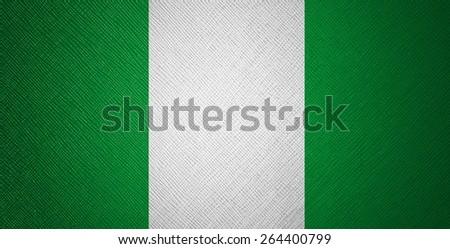 Nigeria flag leather texture - stock photo