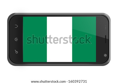 Nigeria flag on smartphone screen isolated on white - stock photo