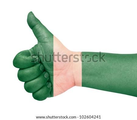 Nigeria flag on thumb up gesture like icon - stock photo