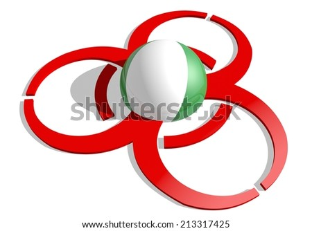 nigeria flag textured sphere in the center of biohazard alert 3d red sign. suitable for ebola and others pandemic cases - stock photo