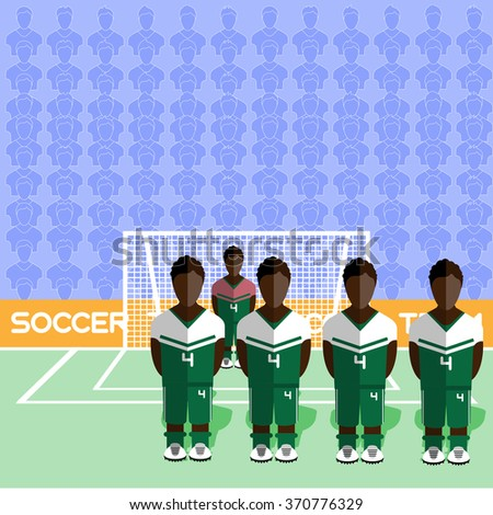 Nigeria Football Club Soccer Players Silhouettes. Computer game Soccer team players big set. Sports infographic. Football Teams in Flat Style. Goalkeeper Standing in a Goal. - stock photo