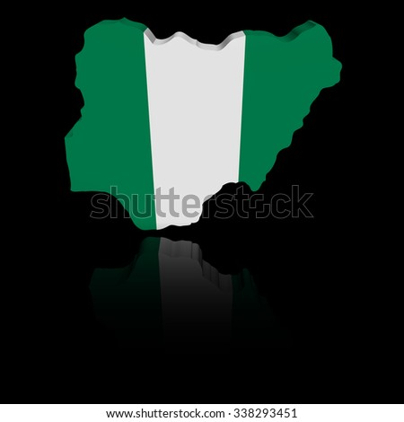 Nigeria map flag with reflection illustration - stock photo