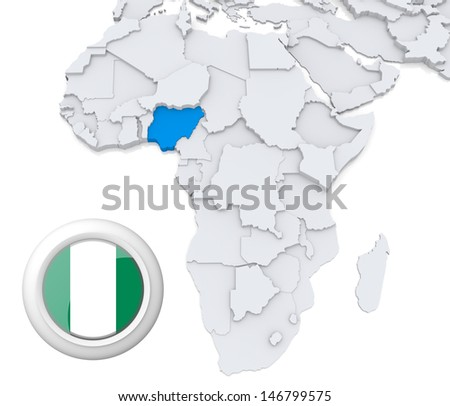 Nigeria with national flag - stock photo