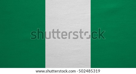 Nigerian national official flag. African patriotic symbol, banner, element, background. Correct colors. Flag of Nigeria with real detailed fabric texture, accurate size, illustration
