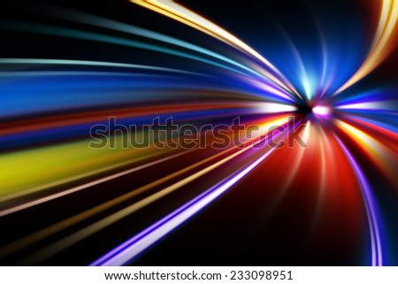 night acceleration speed motion  - stock photo