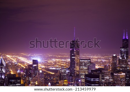 Night Aerial View of City Downtown