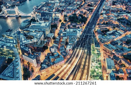 Night aerial view of London. - stock photo