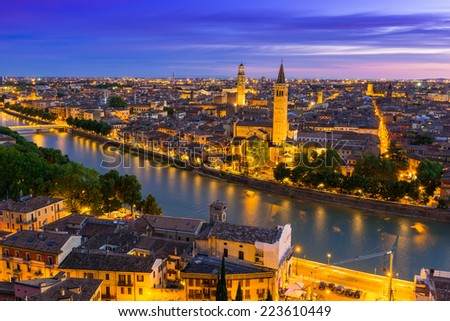 Night aerial view of Verona. Italy - stock photo