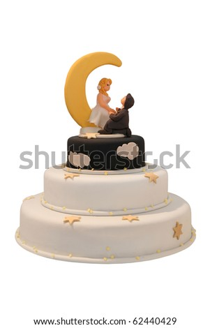 Night and day wedding cake with moon and the stars - stock photo