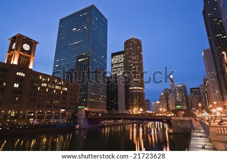 Night and Lights by Chicago River - stock photo