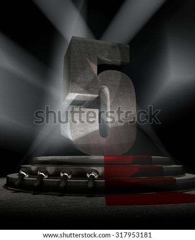Night Anniversary Scene with FIVE on pedestal - stock photo