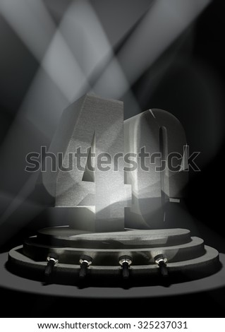 Night Anniversary Scene with FOURTY on pedestal - stock photo