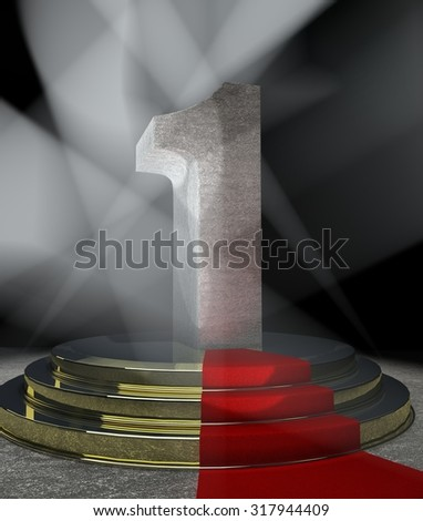 Night Anniversary Scene with ONE on pedestal - stock photo