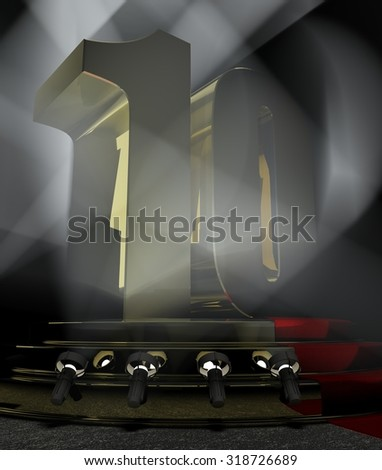Night Anniversary Scene with TEN on pedestal - stock photo