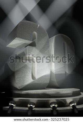 Night Anniversary Scene with THIRTY on pedestal - stock photo