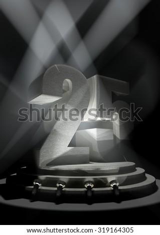 Night Anniversary Scene with TWENTY FIVE on pedestal - stock photo