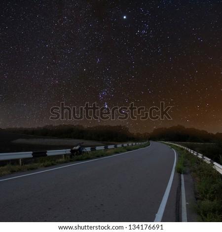 night asphalt road - stock photo