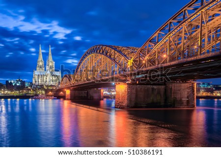 Night at Cologne Cathedral in Cologne, Germany.