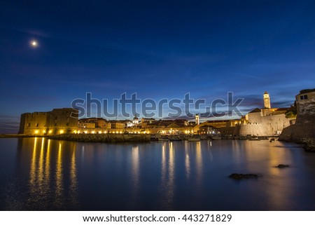 Night at old town of Dubrovnik, unesco world heritage, Croatia - stock photo