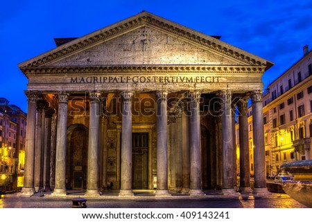 Night at the Pantheon, Rome, Italy - stock photo