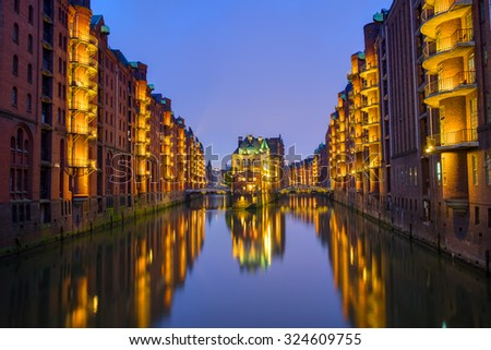Night at the Speicherstadt in Hamburg, Germany - stock photo