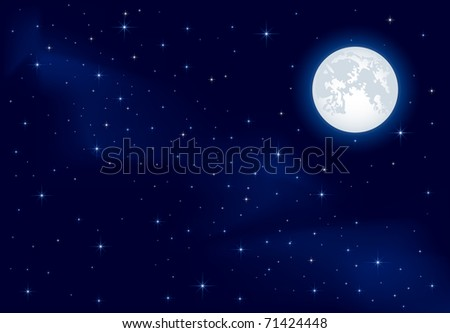 Night background, Moon and shining Stars on dark blue sky, illustration - stock photo