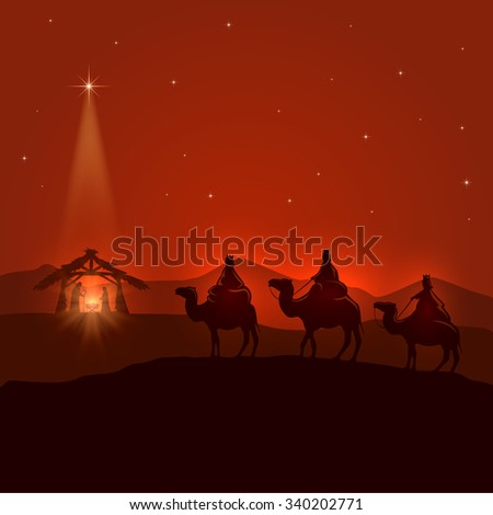 Night background with Christian Christmas scene, three wise men, birth of Jesus and shining star, illustration. - stock photo