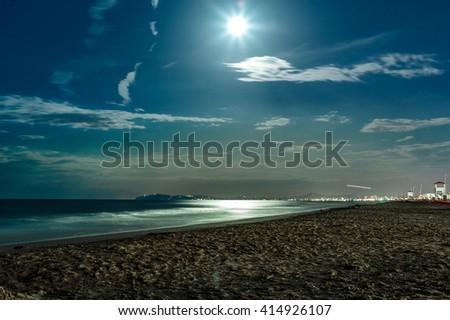 Night Beach Landscape With Full Moon On Adriatic Sea
