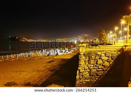 Night beach, views of Alanya. Turkey - stock photo