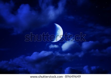 night beautiful blue sky with cumulus clouds, moon and stars - stock photo