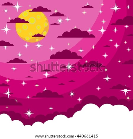 Night beautiful moonlit sky - Full moon in the night star sky. Cartoon moon with space for text in the clouds. Stock illustration. - stock photo