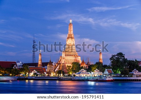 night beautiful temple wat arun landmark bangkok - stock photo