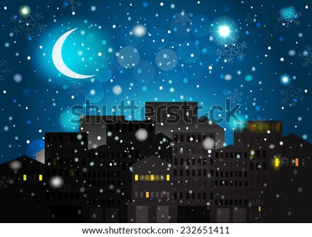 Night before Christmas. Moon over the night city, snow and stars on the sky. - stock photo