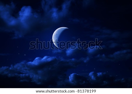 Night blue cloudy sky with stars and a moon crescent-shaped - stock photo