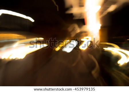 Night Blurry Light in the City And Street Lights Background/ Hipster