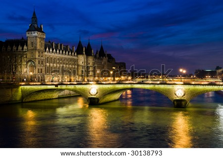 Night bridge in Paris