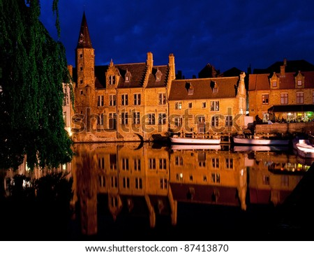 Night Brugge. View from the Rozenhoedkaai