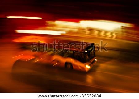 Night bus ride - stock photo