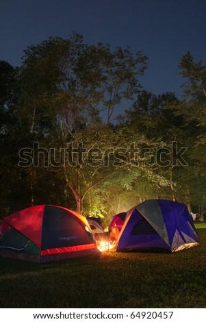 night camping - stock photo