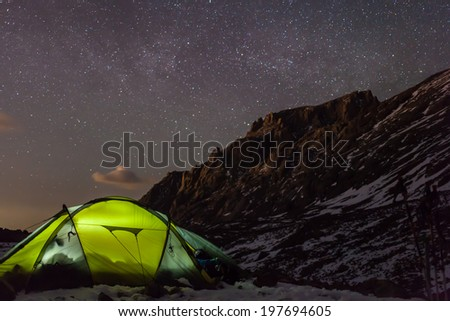 night camping under the stars Mountains - stock photo