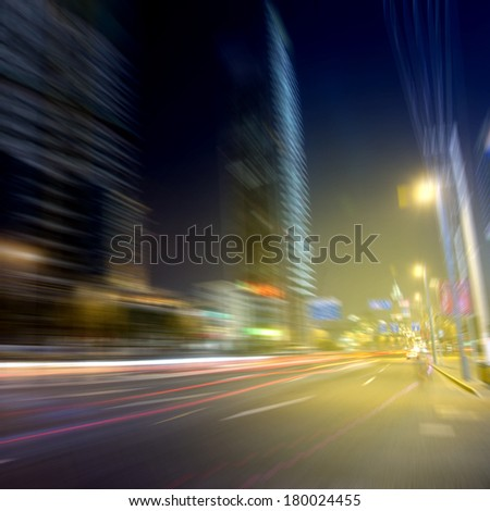 Night car speed blur background - stock photo
