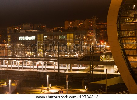 Night city Adler on the Black sea In the foreground train station , next town , - stock photo