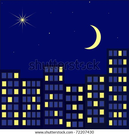 Night city against the star sky with a month - stock photo