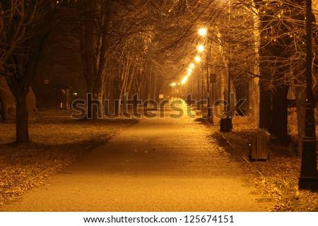 Night City Alley in autumn - stock photo
