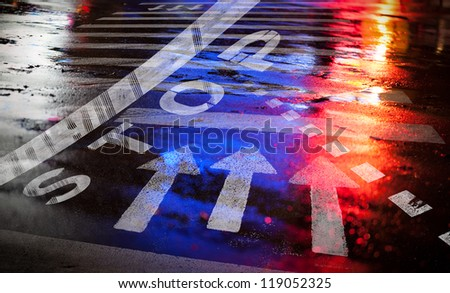 Night city asphalt road background with marking lines and colorful reflections - stock photo
