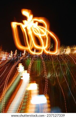 Night city blurred lights. Abstract composition.  - stock photo