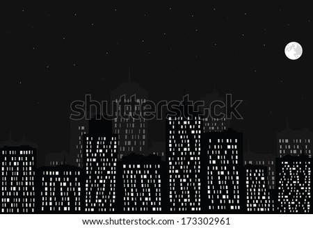 Night city, full moon and stars. - stock photo